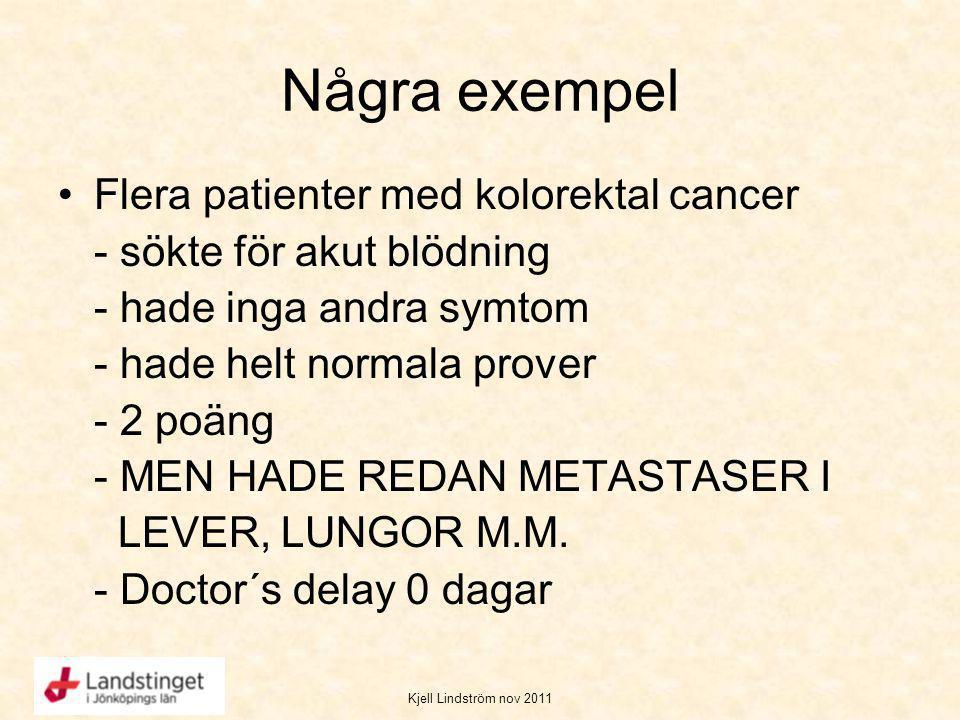 Kjell Lindström nov 2011 Några exempel Flera patienter med kolorektal cancer - sökte för akut blödning - hade inga andra symtom - hade helt normala pr