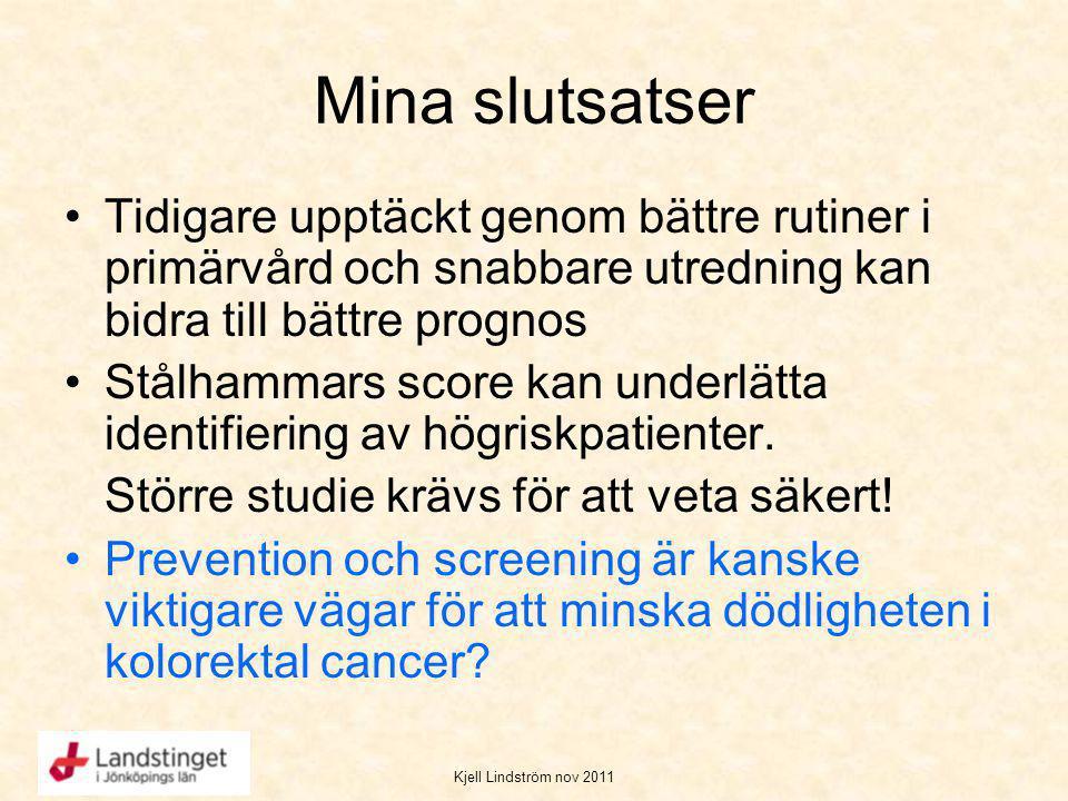 Kjell Lindström nov 2011 Mina slutsatser Tidigare upptäckt genom bättre rutiner i primärvård och snabbare utredning kan bidra till bättre prognos Stål