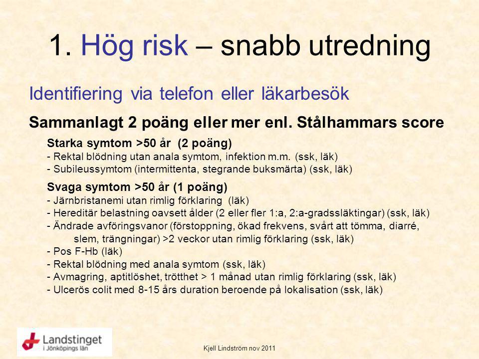 Kjell Lindström nov 2011 1. Hög risk – snabb utredning Identifiering via telefon eller läkarbesök Sammanlagt 2 poäng eller mer enl. Stålhammars score