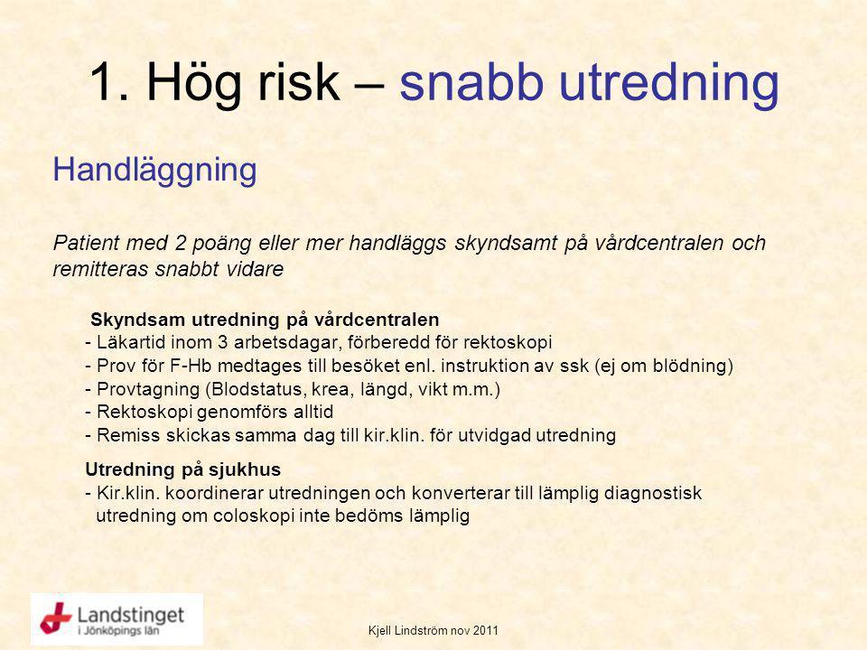 Kjell Lindström nov 2011 1. Hög risk – snabb utredning Handläggning Patient med 2 poäng eller mer handläggs skyndsamt på vårdcentralen och remitteras