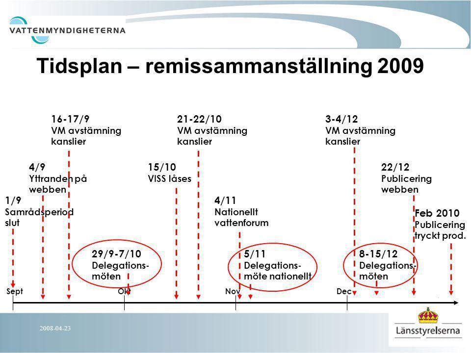 2008-04-23 Nationella förändringar FP Nationella texter kring kvicksilver, kraftigt modifierade vatten samt definition av miljökvalitetsnormer tas fram Språkgranskning samt gemensam terminologi, ordlista och referenser