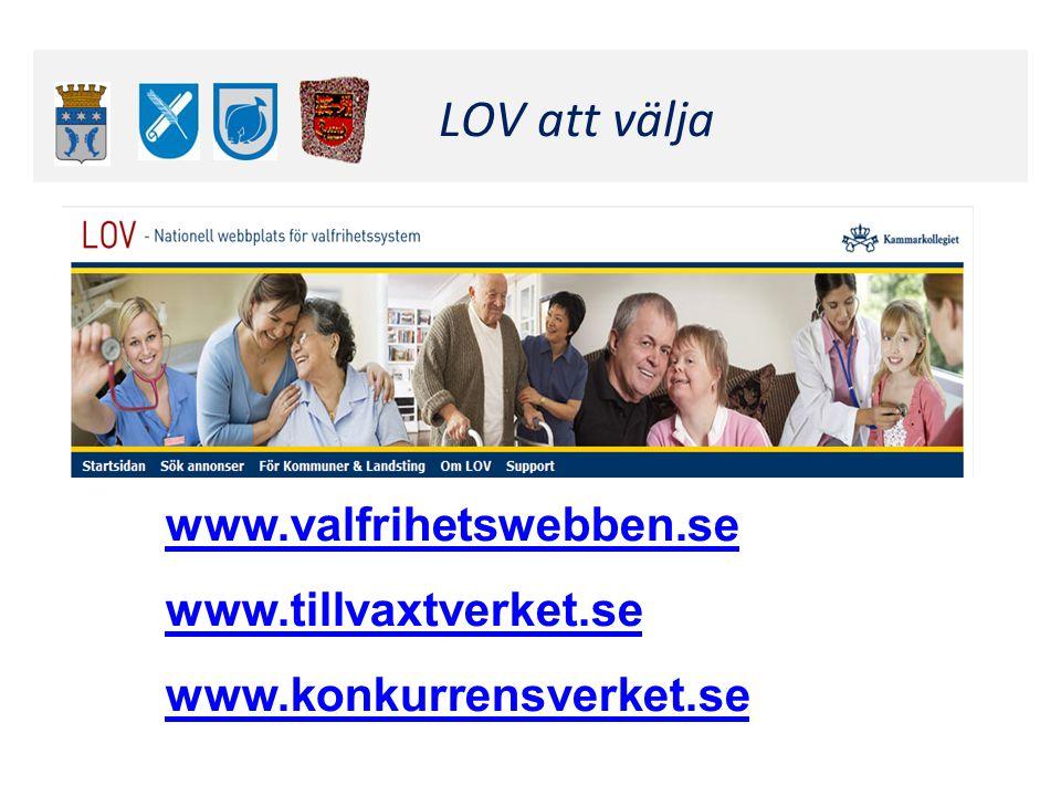 Klicka här för att ändra format LOV att välja www.valfrihetswebben.se www.tillvaxtverket.se www.konkurrensverket.se