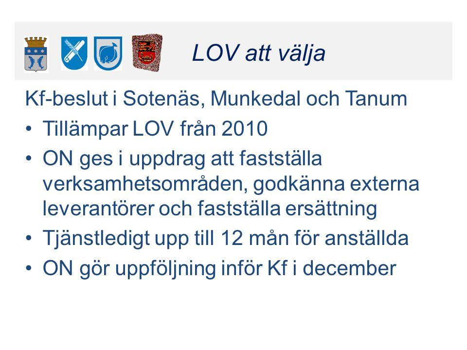 Klicka här för att ändra format LOV att välja Klicka här för att ändra format LOV att välja Kf-beslut i Sotenäs, Munkedal och Tanum Tillämpar LOV från
