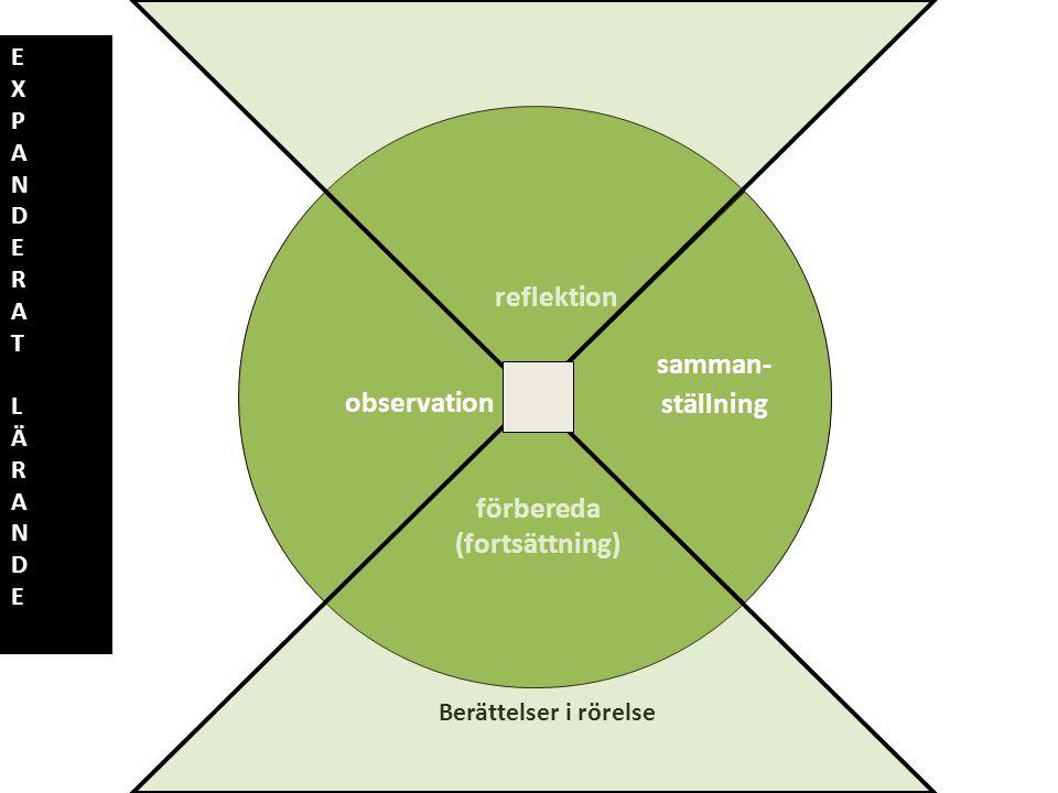 Förbereda projekt observation reflektion samman- ställning förbereda (fortsättning) Berättelser i rörelse E X P A N D E R A T L Ä R A N D E