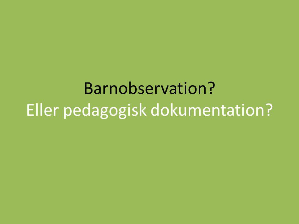 Barnobservation? Eller pedagogisk dokumentation?