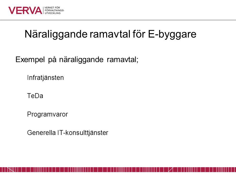 Näraliggande ramavtal för E-byggare Exempel på näraliggande ramavtal; Infratjänsten TeDa Programvaror Generella IT-konsulttjänster
