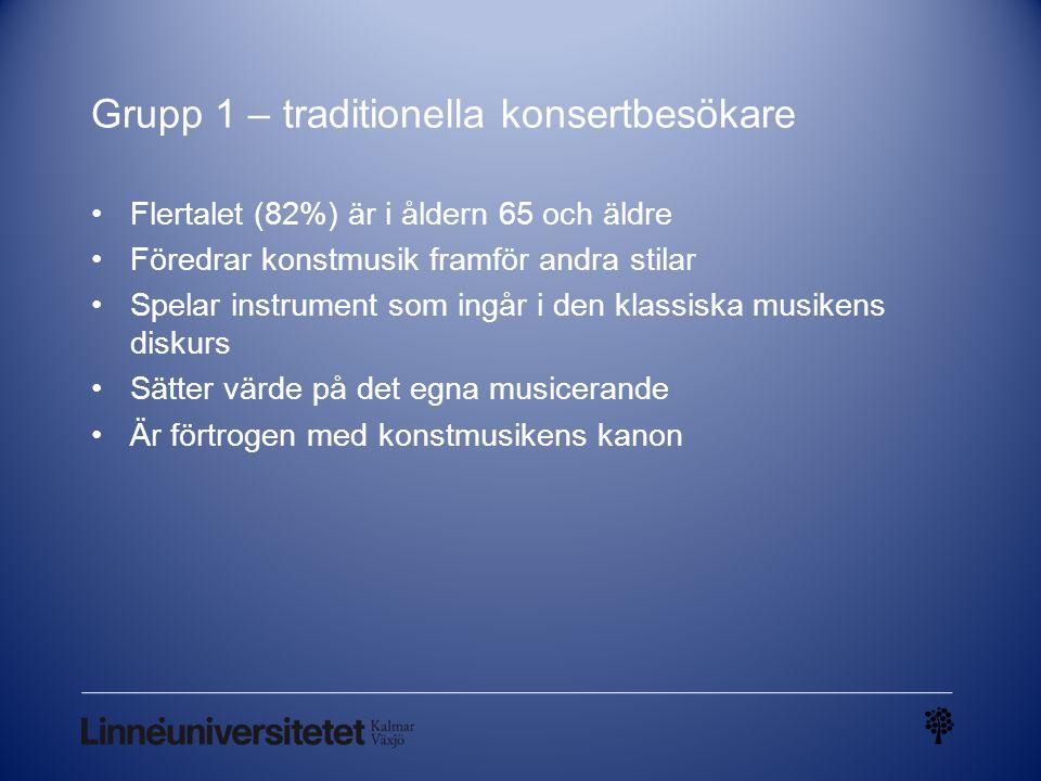 Grupp 1 – traditionella konsertbesökare Flertalet (82%) är i åldern 65 och äldre Föredrar konstmusik framför andra stilar Spelar instrument som ingår