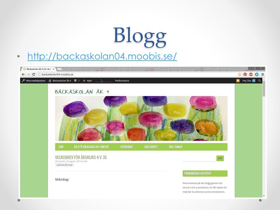 Blogg http://backaskolan04.moobis.se/