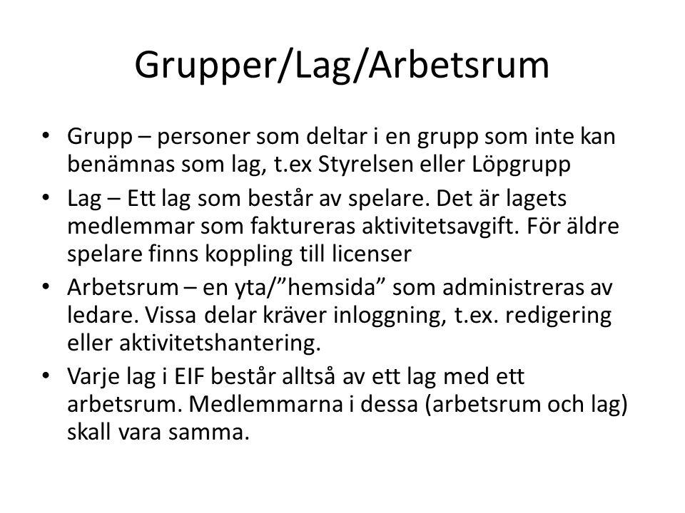 Grupper/Lag/Arbetsrum Grupp – personer som deltar i en grupp som inte kan benämnas som lag, t.ex Styrelsen eller Löpgrupp Lag – Ett lag som består av spelare.