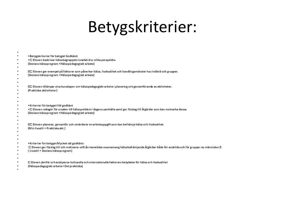 Betygskriterier: Betygskriterier för betyget Godkänt: ☐ Eleven beskriver hälsobegreppets innebörd ur olika perspektiv. (Skolans hälsoprogram +Hälsoped