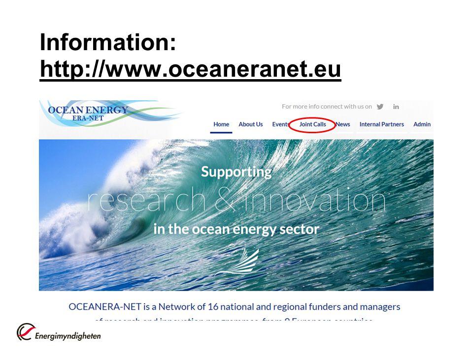 Information: http://www.oceaneranet.eu