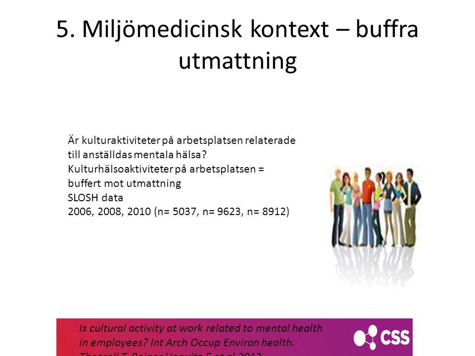 5. Miljömedicinsk kontext – buffra utmattning Är kulturaktiviteter på arbetsplatsen relaterade till anställdas mentala hälsa? Kulturhälsoaktiviteter p