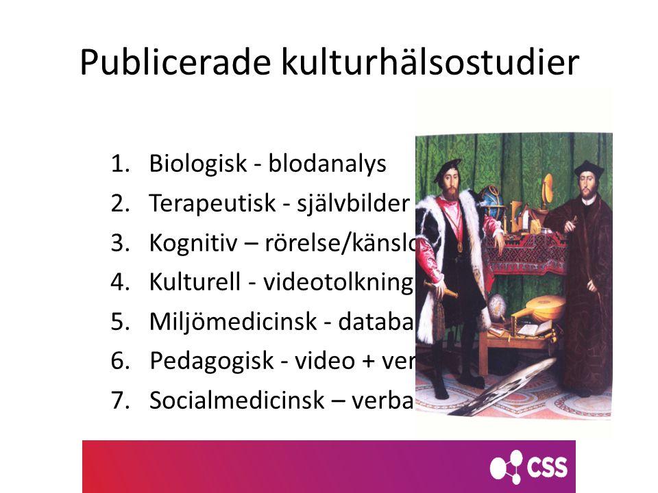Publicerade kulturhälsostudier 1.Biologisk - blodanalys 2.Terapeutisk - självbilder 3.Kognitiv – rörelse/känslonyansering 4.Kulturell - videotolkning