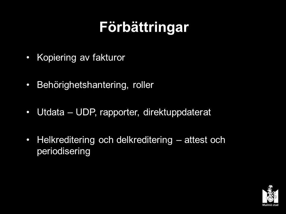 Förbättringar Kopiering av fakturor Behörighetshantering, roller Utdata – UDP, rapporter, direktuppdaterat Helkreditering och delkreditering – attest och periodisering