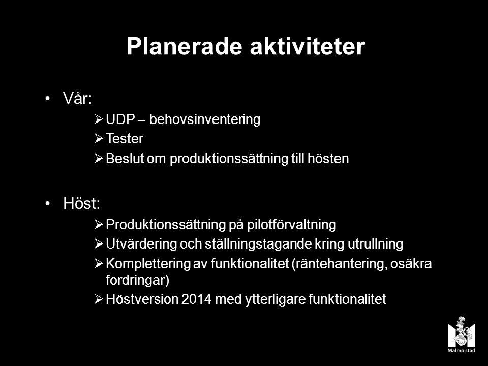 Planerade aktiviteter Vår:  UDP – behovsinventering  Tester  Beslut om produktionssättning till hösten Höst:  Produktionssättning på pilotförvaltning  Utvärdering och ställningstagande kring utrullning  Komplettering av funktionalitet (räntehantering, osäkra fordringar)  Höstversion 2014 med ytterligare funktionalitet