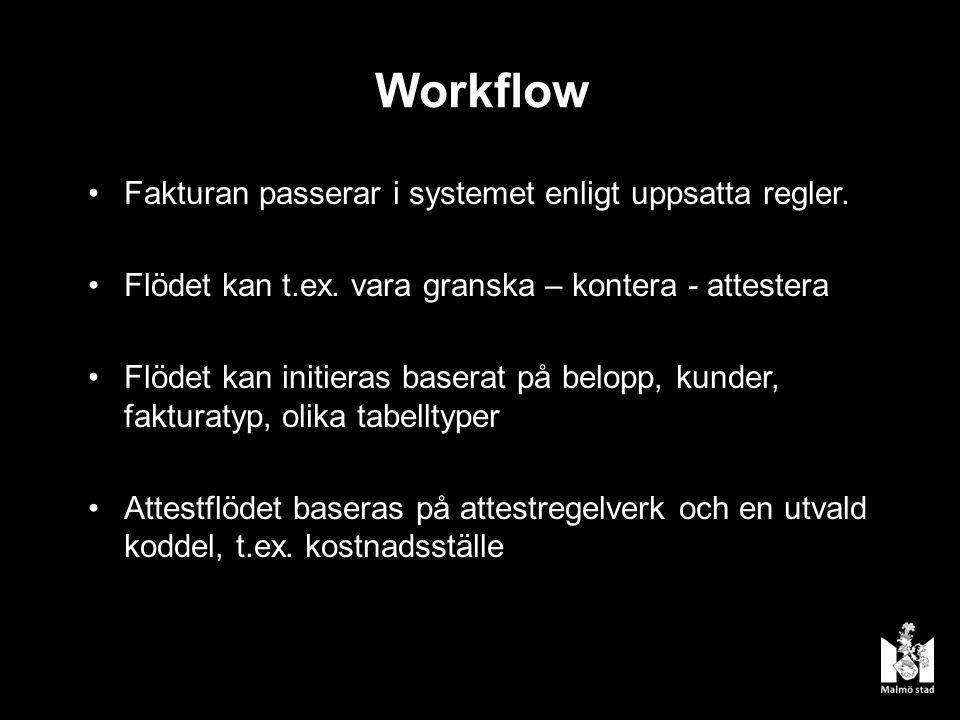 Workflow Fakturan passerar i systemet enligt uppsatta regler. Flödet kan t.ex. vara granska – kontera - attestera Flödet kan initieras baserat på belo