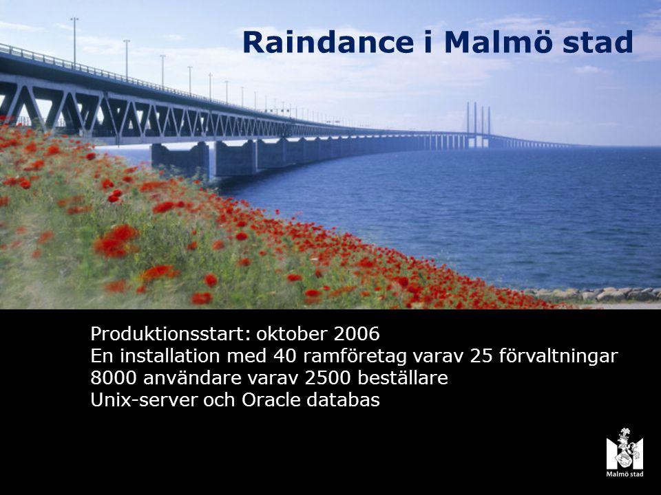 Raindance i Malmö stad Produktionsstart: oktober 2006 En installation med 40 ramföretag varav 25 förvaltningar 8000 användare varav 2500 beställare Unix-server och Oracle databas