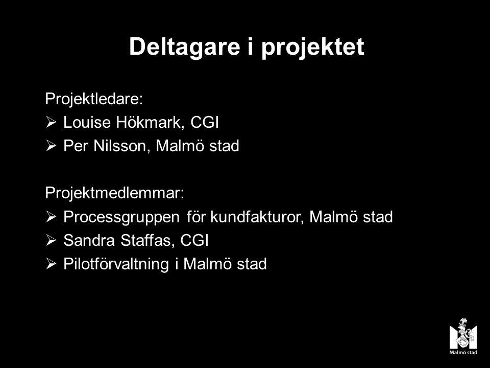 Deltagare i projektet Projektledare:  Louise Hökmark, CGI  Per Nilsson, Malmö stad Projektmedlemmar:  Processgruppen för kundfakturor, Malmö stad  Sandra Staffas, CGI  Pilotförvaltning i Malmö stad