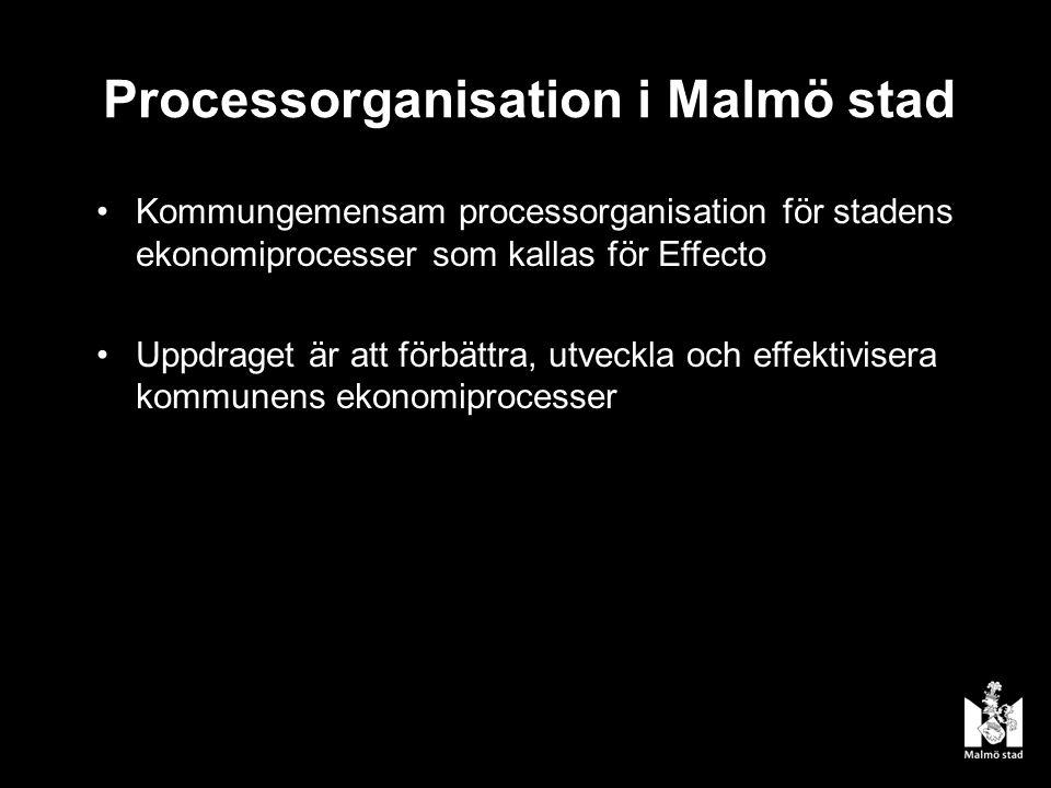 Processorganisation i Malmö stad Kommungemensam processorganisation för stadens ekonomiprocesser som kallas för Effecto Uppdraget är att förbättra, utveckla och effektivisera kommunens ekonomiprocesser