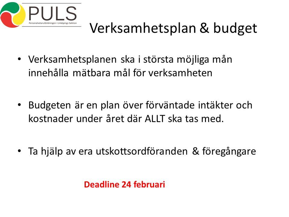 Verksamhetsplan & budget Verksamhetsplanen ska i största möjliga mån innehålla mätbara mål för verksamheten Budgeten är en plan över förväntade intäkter och kostnader under året där ALLT ska tas med.