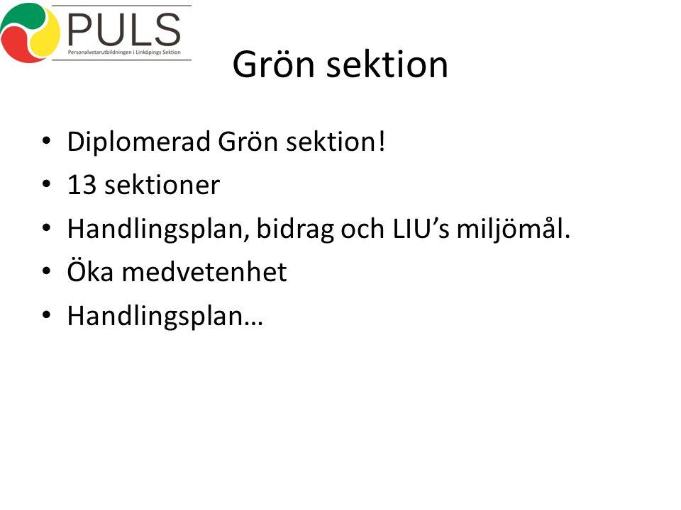 Grön sektion Diplomerad Grön sektion. 13 sektioner Handlingsplan, bidrag och LIU's miljömål.