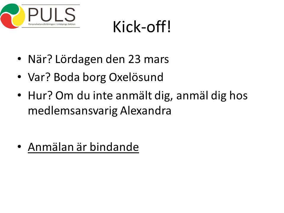 Kick-off. När. Lördagen den 23 mars Var. Boda borg Oxelösund Hur.