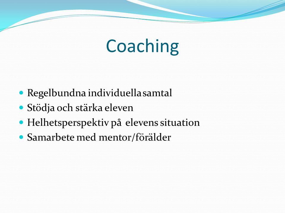 Regelbundna individuella samtal Stödja och stärka eleven Helhetsperspektiv på elevens situation Samarbete med mentor/förälder Coaching