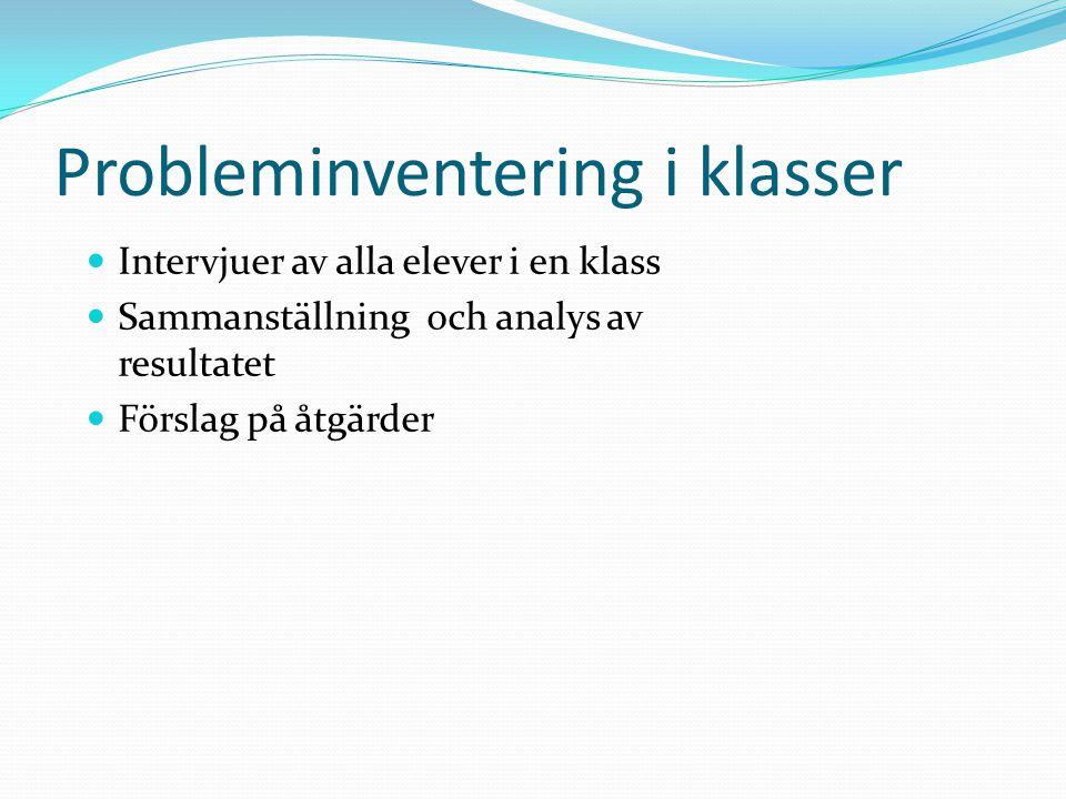 Probleminventering i klasser Intervjuer av alla elever i en klass Sammanställning och analys av resultatet Förslag på åtgärder