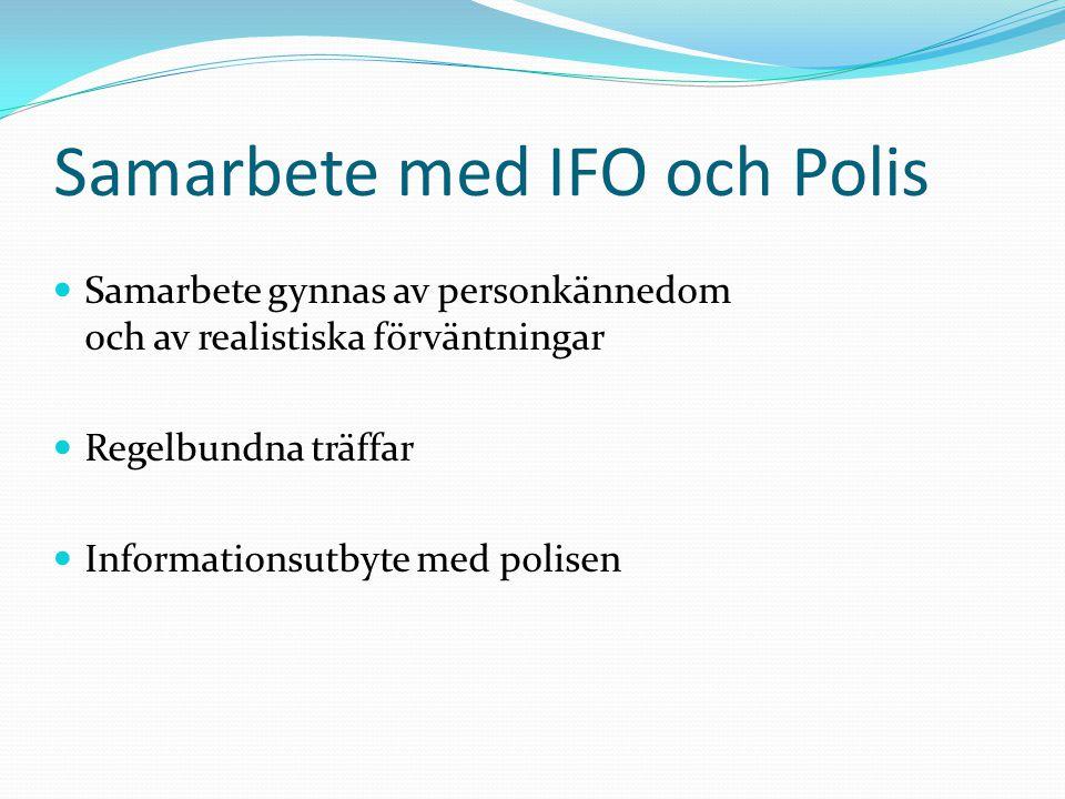 Samarbete med IFO och Polis Samarbete gynnas av personkännedom och av realistiska förväntningar Regelbundna träffar Informationsutbyte med polisen