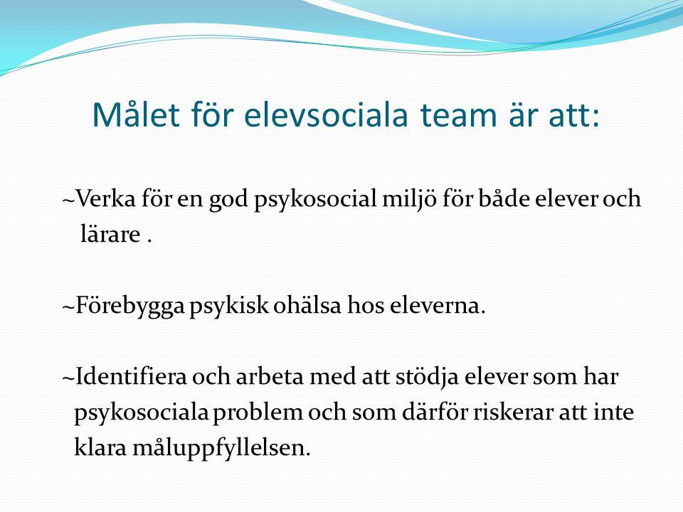 Målet för elevsociala team är att: ~Verka för en god psykosocial miljö för både elever och lärare. ~Förebygga psykisk ohälsa hos eleverna. ~Identifier