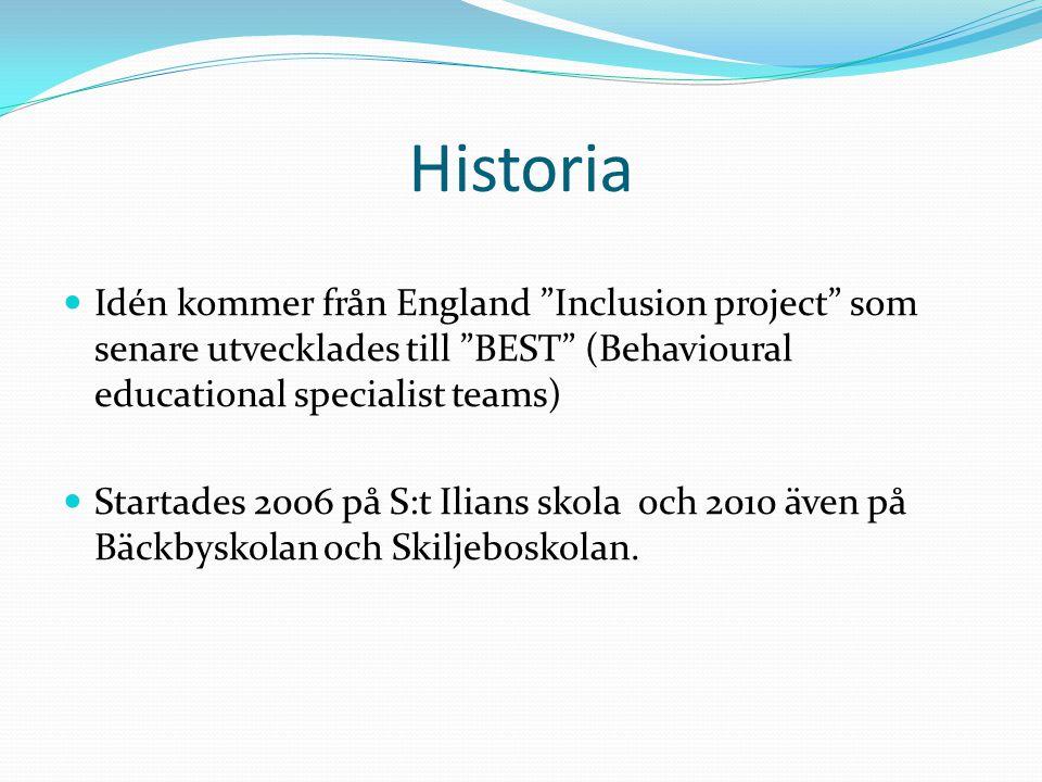 """Historia Idén kommer från England """"Inclusion project"""" som senare utvecklades till """"BEST"""" (Behavioural educational specialist teams) Startades 2006 på"""