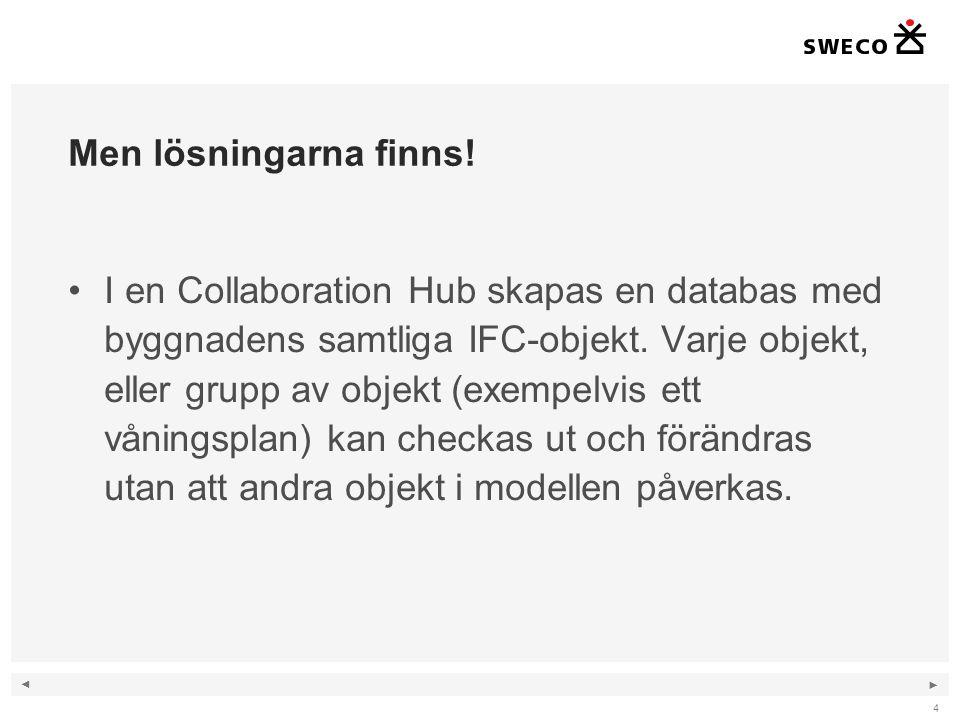 ◄ ► Men lösningarna finns! I en Collaboration Hub skapas en databas med byggnadens samtliga IFC-objekt. Varje objekt, eller grupp av objekt (exempelvi