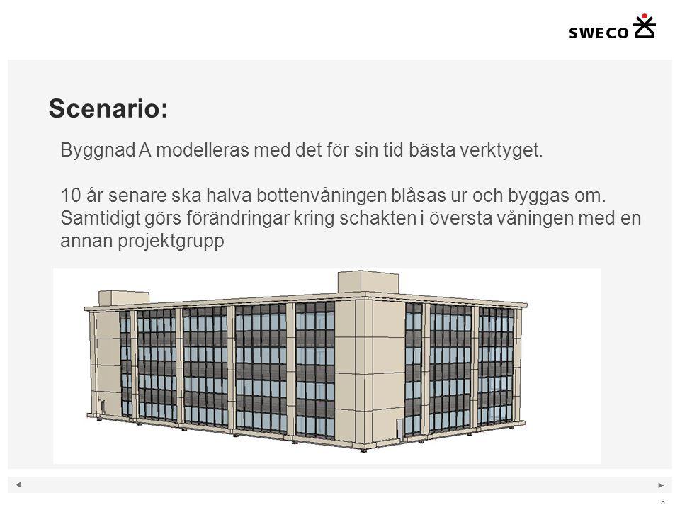 ◄ ► Scenario: 5 Byggnad A modelleras med det för sin tid bästa verktyget. 10 år senare ska halva bottenvåningen blåsas ur och byggas om. Samtidigt gör