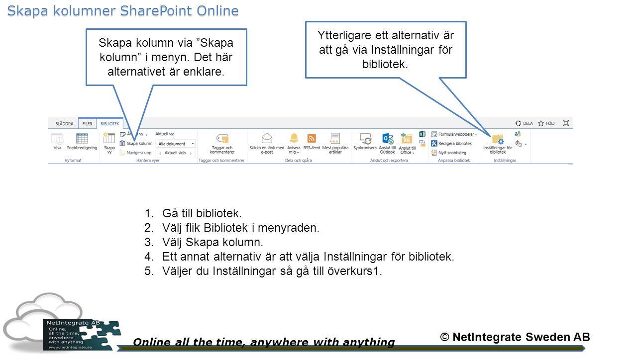 Online all the time, anywhere with anything © NetIntegrate Sweden AB Skapa kolumner SharePoint Online Länk eller bild.