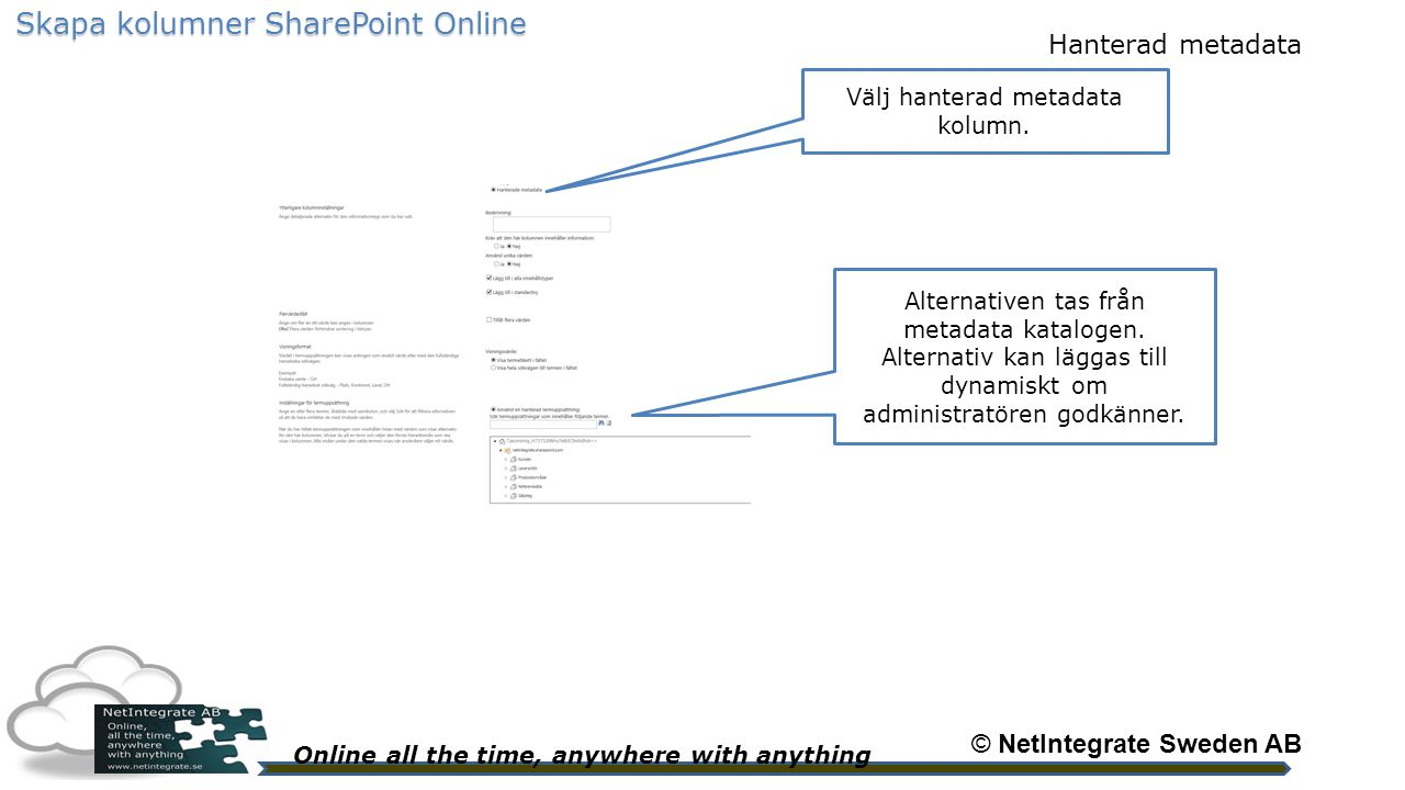 Online all the time, anywhere with anything © NetIntegrate Sweden AB Skapa kolumner SharePoint Online Välj hanterad metadata kolumn.