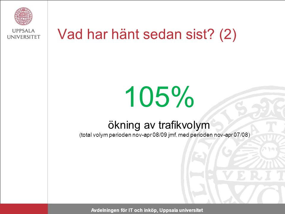 Vad har hänt sedan sist. (2) 105% ökning av trafikvolym (total volym perioden nov-apr 08/09 jmf.
