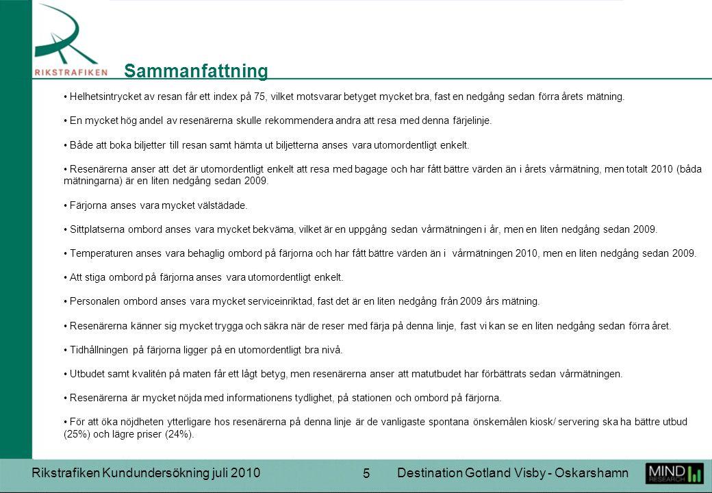 Rikstrafiken Kundundersökning juli 2010Destination Gotland Visby - Oskarshamn 5 Helhetsintrycket av resan får ett index på 75, vilket motsvarar betyget mycket bra, fast en nedgång sedan förra årets mätning.