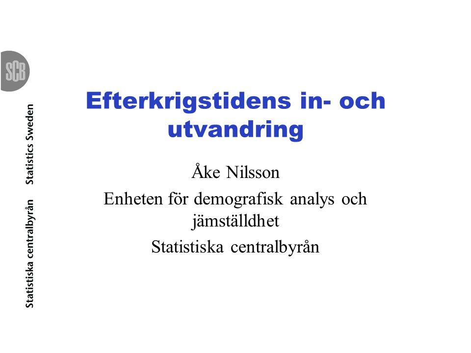 Efterkrigstidens in- och utvandring Åke Nilsson Enheten för demografisk analys och jämställdhet Statistiska centralbyrån
