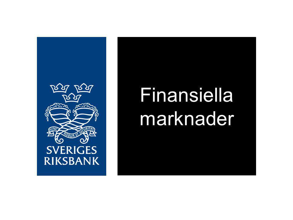 Företagens upplåning från kreditinstituten, Årlig procentuell förändring Källa: RiksbankenDiagram 2:15