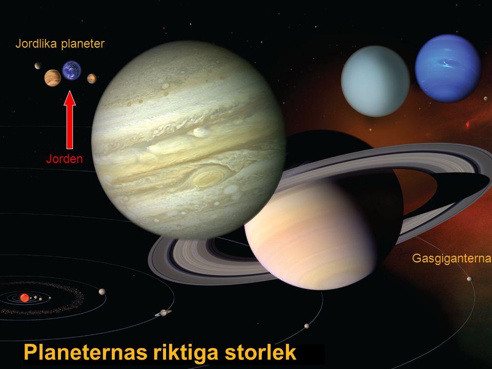 Planeternas riktiga storlek Gasgiganterna Jordlika planeter Jorden