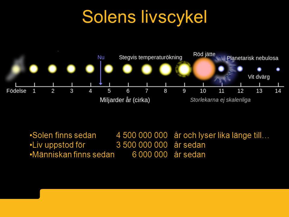 Solens livscykel Solen finns sedan 4 500 000 000 år och lyser lika länge till… Liv uppstod för 3 500 000 000 år sedan Människan finns sedan 6 000 000å