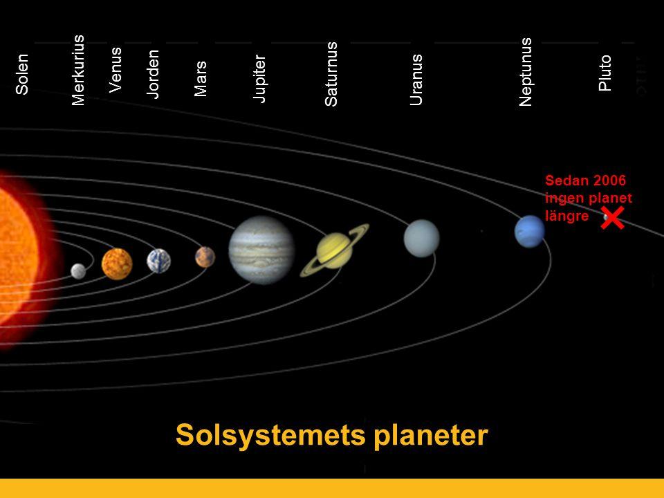 Solsystemets planeter Sedan 2006 ingen planet längre Solen Merkurius Venus Jorden Mars Jupiter Saturnus Uranus Neptunus Pluto