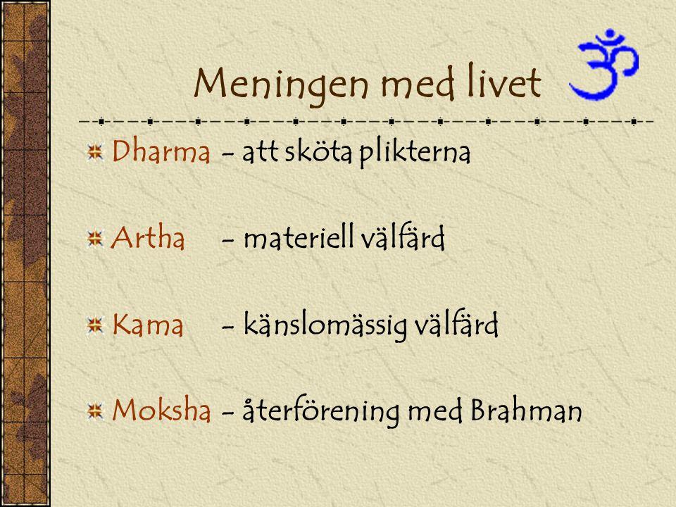 Meningen med livet Dharma- att sköta plikterna Artha - materiell välfärd Kama- känslomässig välfärd Moksha- återförening med Brahman