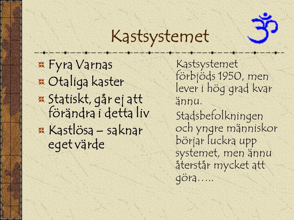 Kastsystemet Fyra Varnas Otaliga kaster Statiskt, går ej att förändra i detta liv Kastlösa – saknar eget värde Kastsystemet förbjöds 1950, men lever i