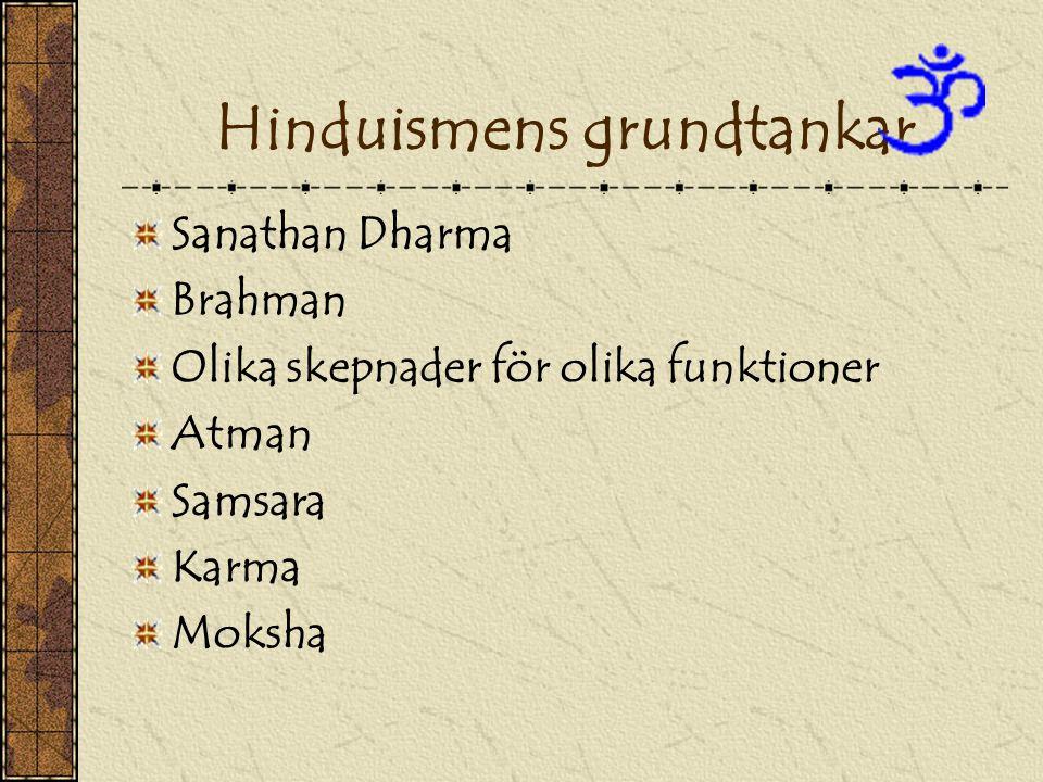 Hinduismens grundtankar Sanathan Dharma Brahman Olika skepnader för olika funktioner Atman Samsara Karma Moksha