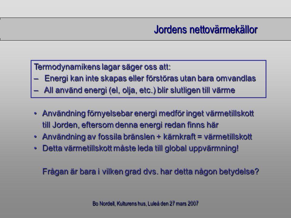 Bo Nordell, Kulturens hus, Luleå den 27 mars 2007 Jordens nettovärmekällor Användning förnyelsebar energi medför inget värmetillskottAnvändning förnye