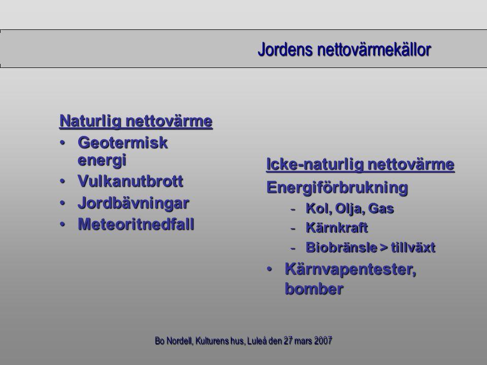 Bo Nordell, Kulturens hus, Luleå den 27 mars 2007 Jordens nettovärmekällor Naturlig nettovärme Geotermisk energiGeotermisk energi VulkanutbrottVulkanu