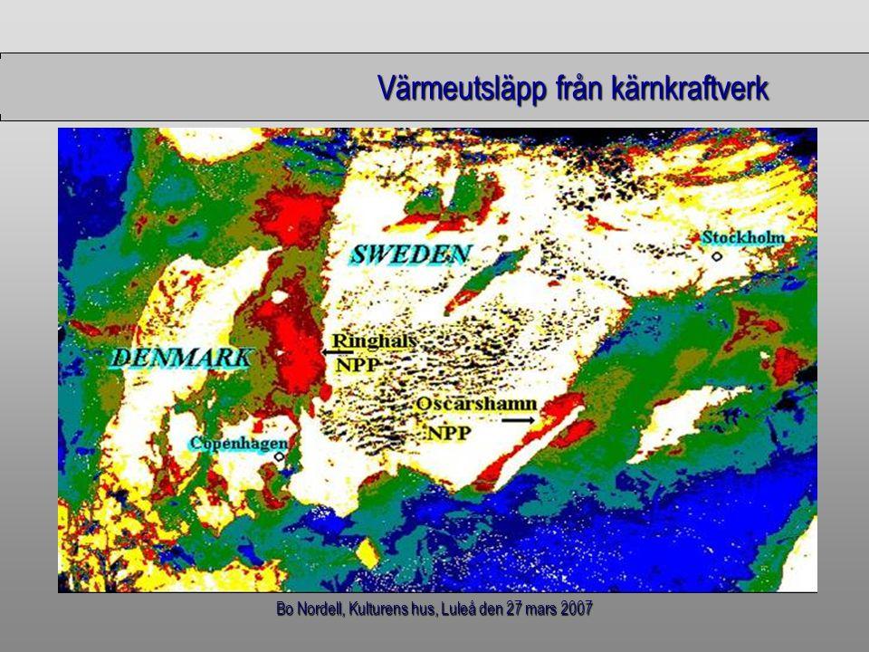Bo Nordell, Kulturens hus, Luleå den 27 mars 2007 Värmeutsläpp från kärnkraftverk