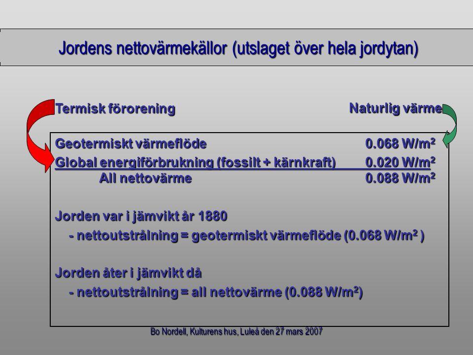 Bo Nordell, Kulturens hus, Luleå den 27 mars 2007 Jordens nettovärmekällor (utslaget över hela jordytan) Geotermiskt värmeflöde 0.068 W/m 2 Global ene