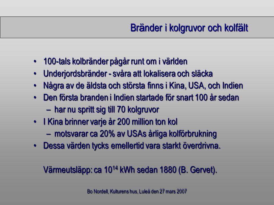 Bo Nordell, Kulturens hus, Luleå den 27 mars 2007 Br ä nder i kolgruvor och kolf ä lt 100-tals kolbränder pågår runt om i världen100-tals kolbränder p